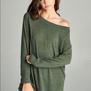 Sweaters - Off  Shoulder Wide Neck Tunic Sweater